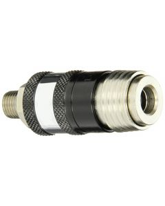 Coilhose 152USE 5-in-1 Automatic Safety Exhaust Coupler, 1/4 inch MPT, Chrome Plated Steel and Aluminum