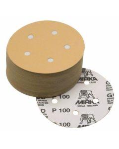 "Mirka 23-614-080 Gold 5"" 80 Grit 5-Hole Grip Vacuum Disc, 50 Piece"