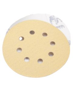 "Mirka 23-615-150 Gold 5"" 150 Grit Hook and Loop 8 Hole Grip Vacuum Disc, 50 Piece"