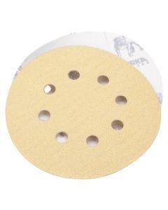 "Mirka 23-615-180 Gold 5"" 180 Grit Hook and Loop 8 Hole Grip Vacuum Disc, 50 Piece"