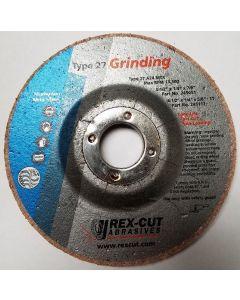 """Rex Cut 245051 4-1/2"""" x 1/4"""" x 7/8"""" Type 27 MTX Cotton Fiber Grinding Wheel"""