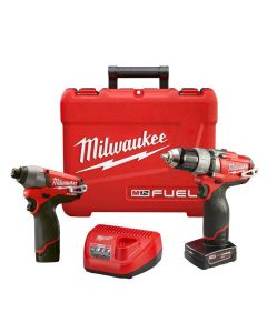 "Milwaukee 2594-22 M12 Fuel Lithium-Ion Cordless 1/2"" Drill/Driver and 1/4 inch Hex Impact Driver Combo Kit, 2.0Ah Batteries"
