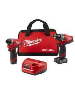 Milwaukee 2596-22 M12 Fuel Drill & Impact Driver Combo Kit, 1.5Ah Batteries