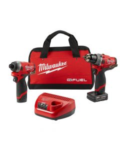 Milwaukee 2598-22 M12 Fuel 12V Cordless 2-Tool Combo Kit, 2.0Ah Batteries