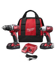 Milwaukee 2691-22 M18 Compact Drill/Driver and Impact Driver Cordless Combo Kit, 1.5Ah Batteries