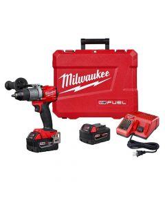 "Milwaukee 2804-22 M18 18V Fuel Cordless 1/2"" Hammer Drill Kit, 5.0Ah Batteries"