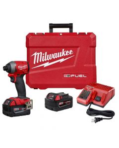 "Milwaukee 2853-22 M18 Fuel 18V Lithium-Ion Cordless 1/4"" Hex Impact Driver Kit, 5.0Ah Batteries"