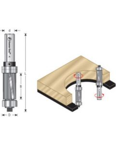 Down-Shear Multi Trimmer Router Bit with Bearings
