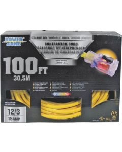 100' 12/3 Extension Cord with Lighted Locking Connector