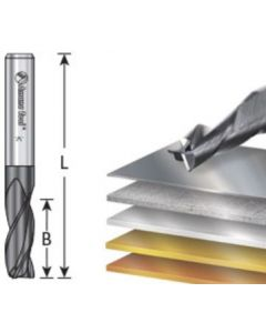 Solid Carbide Spiral Router Bits / End Mills for Steel, Stainless Steel & Non Ferrous Metal with AlTiN Coating