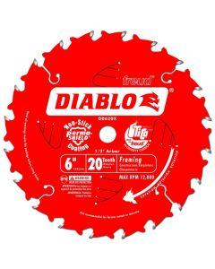 "D0620X Diablo 6"" x 20T x 1/2"" Arbor ATB Framing Blade"