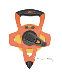 "Lufkin FE100 1/2"" x 100' Hi-Viz Orange Fiberglass Open Reel Measuring Tape"