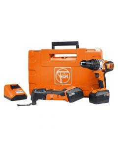 Fein 71900561090 AFMM14/ASB 14.4V Hammer Drill Driver and MultiMaster Oscillating Tool Combo Kit, 4.0Ah Batteries