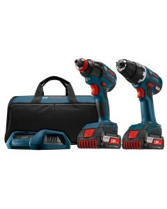 "Bosch CLPK233WC-02 18V Wireless Charging EC Brushless 1/4"" and 1/2"" Socket-Ready Impact Driver and 1/2"" Drill/Driver Combo Kit, 2.0Ah Batteries"