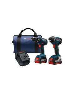 Bosch CLPK237A-181 2-Tool Combo Cordless Tool Kit Blue, 18 V, Lithium-Ion