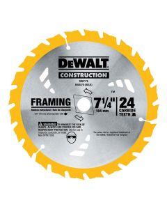 """DeWalt DW3178 7-1/4"""" 24T ATB Thin Kerf Framing Circular Saw Blade"""