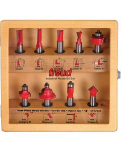 Freud 91-108 9-Piece Basic Router Bit Set, 1/2 inch Shank