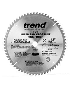 "Trend PSB/CC30564A 12"" 64T General Purpose Circular Compound Miter Saw Blade"