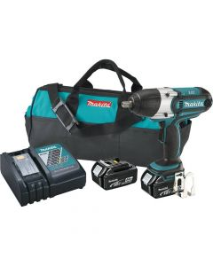 """Makita XWT04M LXT Lithium‑Ion Cordless High Torque 1/2"""" Square Drive Impact Wrench Kit, 4.0Ah Batteries"""