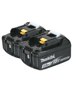 Makita BL1830B-2 18V LXT Lithium‑Ion 3.0Ah Battery, 2 Piece