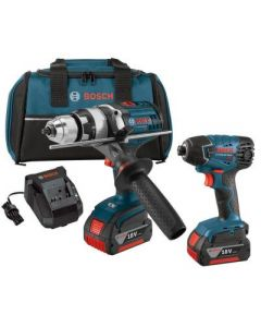 Bosch CLPK222-181 18V  Hammer Drill Driver and Hex Impact Driver Combo Kit, 4.0Ah Batteries