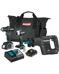 Makita CX300RB 18V LXT Lithium‑Ion Sub‑Compact Cordless 3‑Piece Combo Kit, 2.0Ah Batteries