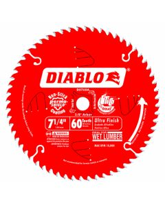 "Freud D0760A 7-1/4"" 60 Teeth Diablo Ultra Finish Circular Saw Blade"