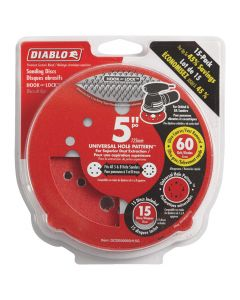 "Freud DCD050060H15G 5"" 60 Grit Diablo 12-Hole Hook and Lock Sanding Disc, 15 Pack"