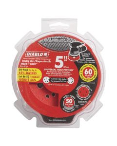 "Freud DCD050060H50G 5"" 60 Grit Diablo 12-Hole Hook and Lock Sanding Disc, 50 Pack"