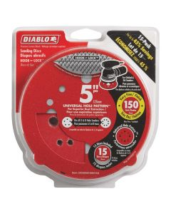 "Freud DCD050150H15G 5"" 150 Grit Diablo 12-Hole Hook and Lock Sanding Disc, 15 Pack"