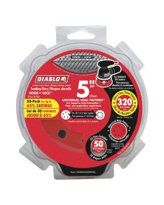 "Freud DCD050320H50G 5"" 320 Grit Diablo 12-Hole Hook and Lock Sanding Disc, 50 Pack"