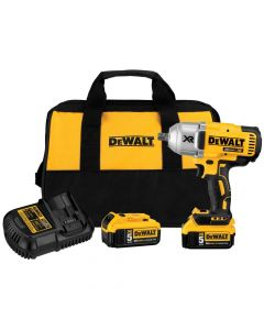 "DeWalt DCF899P2 20V Max XR High Torque 1/2"" Impact Wrench Kit with Detent Anvil, 5.0Ah Batteries"