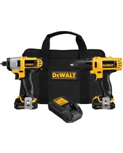 "DeWalt DCK211S2 12V Cordless 3/8"" Drill Driver and Impact Driver Combo Kit, 1.5Ah Batteries"