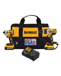 DeWalt DCK299P2LR 20V Max XR Hammer Drill/Impact Driver Combo Kit with Lanyard Ready Attachment Points