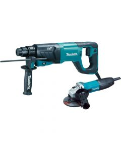 "Makita HR2641X1 1"" SDS‑Plus AVT Rotary Hammer and 4‑1/2"" Angle Grinder"