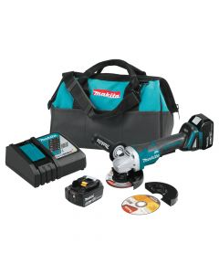 """Makita XAG11T 18V Lithium-Ion Cordless 4-1/2""""/5"""" Paddle Switch Cut-Off/Angle Grinder Kit, 5.0Ah Batteries"""
