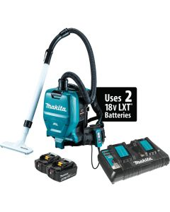 Makita XCV05PT 18V X2 LXT Lithium‑Ion (36V) Cordless 1/2 Gallon HEPA Filter Backpack Dry Dust Extractor/Vacuum Kit , 5.0Ah Batteries