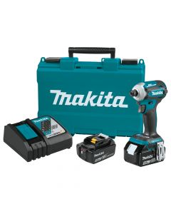 Makita XDT16T 18V LXT Brushless Quick‑Shift Mode Impact Driver Kit, 5.0Ah Batteries