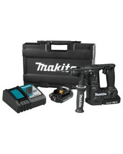 """Makita XRH06RBX 18V LXT Lithium-Ion Sub-Compact Cordless 11/16"""" Rotary Hammer Kit, 2.0 Ah Batteries, with 65-Piece Accessory Kit"""