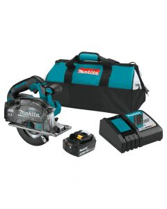 "Makita XSC04T 18V LXT Lithium‑Ion Brushless Cordless 5‑7/8"" Metal Cutting Saw Kit with Electric Brake and Chip Collector, 5.0Ah Batteries"
