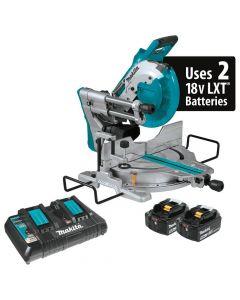 "Makita XSL06PT 18V X2 LXT Lithium-Ion (36V) Cordless 10"" Dual-Bevel Sliding Compound Miter Saw with Laser Kit, 5.0Ah Batteries"