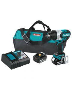 "Makita XWT08T 18V LXT Cordless 1/2"" Impact Wrench Kit, 5.0 Ah Batteries"