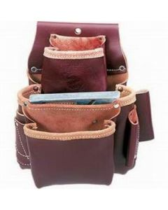"""5060 Occidental Pro Fastener 3-Pouch Fastener Bag 9"""" x 8"""", Leather"""