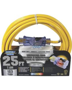 25' 12/3 Extension Cord with Lighted Locking Connector
