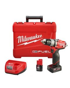 "Milwaukee 2403-22 M12 12V Lithium-Ion 1/2"" Cordless Drill/Driver Kit, 4.0Ah Batteries"