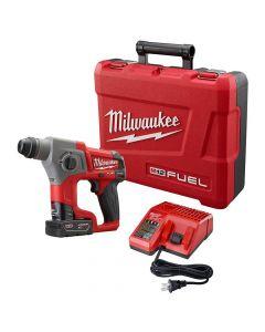 "Milwaukee 2416-21XC M12 Fuel 12V Lithium-Ion Cordless 5/8"" SDS Plus Rotary Hammer Kit, 4.0Ah Batteries"