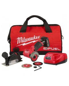 "Milwaukee 2522-21XC M12 Fuel 12V 3"" Compact Cut Off Tool Kit, 4.0Ah Batteries"