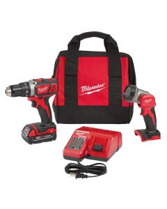 "Milwaukee 2606-21L 18V Cordless 1/2"" Compact Drill Driver Kit with LED Light, 1.5Ah Batteries"
