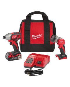 "Milwaukee 2656-21L 18V Cordless 1/4"" Hex Impact Driver Kit with LED Work Light, 1.5Ah Batteries"
