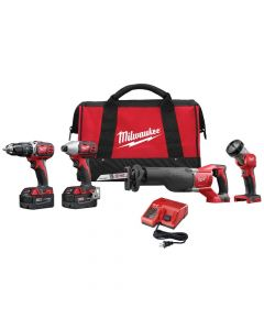 Milwaukee 2696-24 M18 Lithium-Ion Cordless Compact Combo Tool Kit, 3.0Ah Batteries